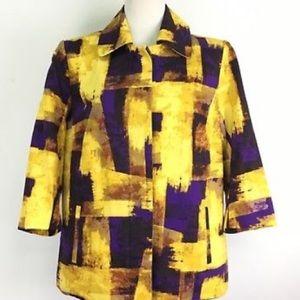 Coldwater Creek Blazer Button Jacket Gold Purple M